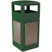 Commercial Zone 72045499 StoneTec 42 Gallon Forest Green Trash Receptacle with Riverstone Panels and Dome Lid