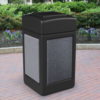 Commercial Zone 720313 StoneTec 42 Gallon Black Trash Receptacle with Pepperstone Panels