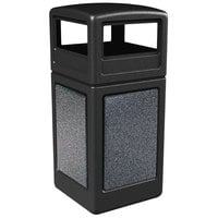 Commercial Zone 72041399 StoneTec 42 Gallon Black Square Trash Receptacle with Pepperstone Panels and Dome Lid