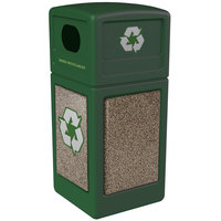 Commercial Zone 72235499 StoneTec 42 Gallon Forest Green Recycling Container with Riverstone Panels