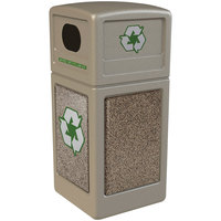 Commercial Zone 72231599 StoneTec 42 Gallon Beige Recycling Container with Riverstone Panels