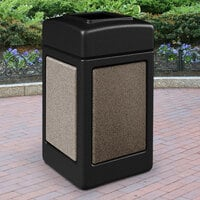 Commercial Zone 720352 StoneTec 42 Gallon Black Trash Receptacle with Riverstone Panels