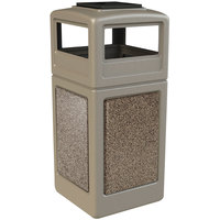 Commercial Zone 72051599 StoneTec 42 Gallon Beige Trash Receptacle with Riverstone Panels and Ashtray Dome Lid