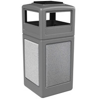 Commercial Zone 72051199 StoneTec 42 Gallon Gray Trash Receptacle with Ashtone Panels and Ashtray Dome Lid