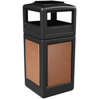 Commercial Zone 72051499 StoneTec 42 Gallon Black Trash Receptacle with Sedona Panels and Ashtray Dome Lid