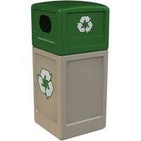 Commercial Zone 74613299 42 Gallon Beige Square Recycling Receptacle with Green Lid and Decals