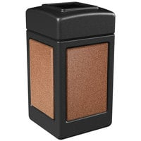 Commercial Zone 720314 StoneTec 42 Gallon Black Trash Receptacle with Sedona Panels