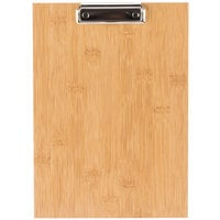 Choice 9 inch x 12 1/2 inch Natural Wood Menu Holder / Presenter with Clip