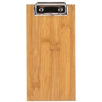 Choice 4 inch x 8 inch Natural Wood Color Menu Holder / Check Presenter with Clip