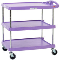 Metro myCart MY2030-34AP Purple Utility Cart with Three Shelves and Chrome Posts - 24 inch x 34 inch