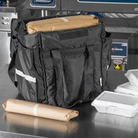 ServIt Heavy-Duty Insulated Black Nylon Soft-Sided Food Delivery Bag, 13 inch x 13 inch x 15 1/2 inch