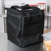 Choice Insulated Food Delivery Bag, Black Nylon, 13 inch x 13 inch x 15 1/2 inch - Holds (6) 2 1/2 inch Deep 1/2 Size Pans or (18) 2 Qt. Container