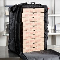 ServIt Insulated Pizza Delivery Bag, Black Soft-Sided Heavy-Duty Nylon, 16 inch x 16 inch x 26 inch - Holds (10-13) 12 inch or 14 inch Pizza Boxes