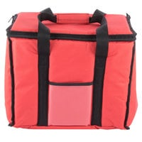 Choice Insulated Delivery Bag, Soft-Sided Sandwich / Take-Out Hot / Cold Delivery Bag, Red Nylon, 15 inch x 12 inch x 12 inch