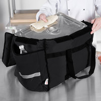 ServIt Insulated Food Delivery Bag Soft-Sided Heavy-Duty / Pan Carrier Black Nylon