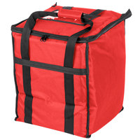 Choice Insulated Food Delivery Bag, Red Nylon, 13 inch x 13 inch x 15 1/2 inch - Holds (6) 2 1/2 inch Deep 1/2 Size Pans or (18) 2 Qt. Container
