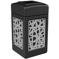 Commercial Zone 734261 42 Gallon Black Square Trash Receptacle with Stainless Steel Intermingle Panels