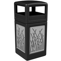 Commercial Zone 732916199 42 Gallon Black Square Trash Receptacle with Stainless Steel Reed Panels and Dome Lid