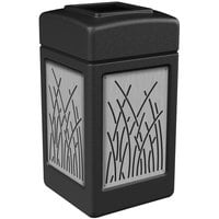 Commercial Zone 734161 42 Gallon Black Square Trash Receptacle with Stainless Steel Reed Panels