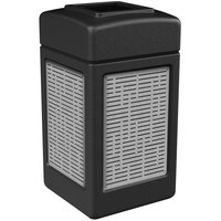 Commercial Zone 734061 42 Gallon Black Square Trash Receptacle with Stainless Steel Horizontal Line Panels