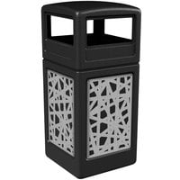 Commercial Zone 732926199 42 Gallon Black Square Trash Receptacle with Stainless Steel Intermingle Panels and Dome Lid