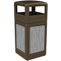 Commercial Zone 732906299 42 Gallon Brown Square Trash Receptacle with Stainless Steel Horizontal Line Panels and Dome Lid