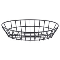 Clipper Mill by GET 4-30144 9 1/4 inch x 6 1/2 inch Black Iron Powder Coated Oval Grid Basket