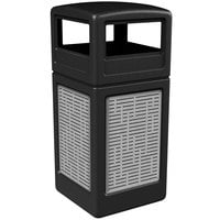 Commercial Zone 732906199 42 Gallon Black Square Trash Receptacle with Stainless Steel Horizontal Line Panels and Dome Lid
