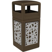 Commercial Zone 732926299 42 Gallon Brown Square Trash Receptacle with Stainless Steel Intermingle Panels and Dome Lid