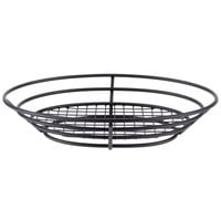 Clipper Mill by GET 4-38814 11 inch x 8 inch Black Iron Powder Coated Oval Basket with Raised Grid Base