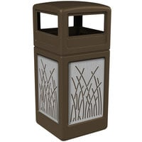 Commercial Zone 732916299 42 Gallon Brown Square Trash Receptacle with Stainless Steel Reed Panels and Dome Lid