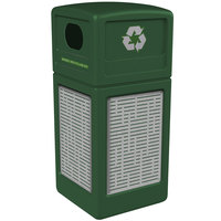 Commercial Zone 746106099 42 Gallon Green Square Recycling Receptacle with Stainless Steel Horizontal Line Panels