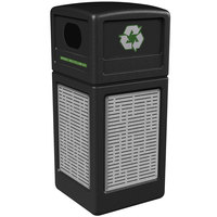Commercial Zone 746106199 42 Gallon Black Square Recycling Receptacle with Stainless Steel Horizontal Line Panels