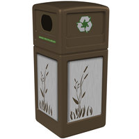 Commercial Zone 746196299 42 Gallon Brown Square Recycling Receptacle with Stainless Steel Cattail Panels