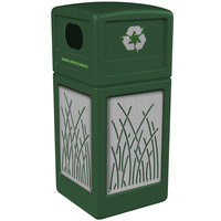 Commercial Zone 746116099 42 Gallon Green Square Recycling Receptacle with Stainless Steel Reed Panels