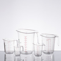 5-Piece Clear Polycarbonate Measuring Cup Set with WebstaurantStore Logo