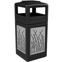 Commercial Zone 733016199 42 Gallon Black Trash Receptacle with Stainless Steel Reed Panels and Ashtray Lid