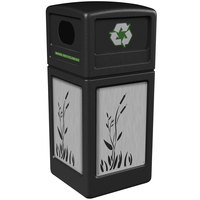 Commercial Zone 746196199 42 Gallon Black Square Recycling Receptacle with Stainless Steel Cattail Panels