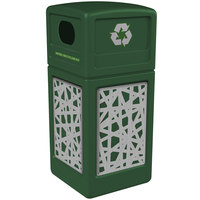 Commercial Zone 746126099 42 Gallon Green Square Recycling Receptacle with Stainless Steel Intermingle Panels