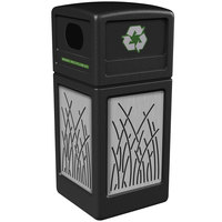 Commercial Zone 746116199 42 Gallon Black Square Recycling Receptacle with Stainless Steel Reed Panels