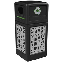Commercial Zone 746126199 42 Gallon Black Square Recycling Receptacle with Stainless Steel Intermingle Panels