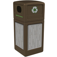 Commercial Zone 746106299 42 Gallon Brown Square Recycling Receptacle with Stainless Steel Horizontal Line Panels