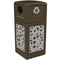 Commercial Zone 746126299 42 Gallon Brown Square Recycling Receptacle with Stainless Steel Intermingle Panels