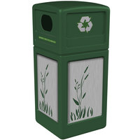 Commercial Zone 746196099 42 Gallon Green Square Recycling Receptacle with Stainless Steel Cattail Panels