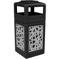 Commercial Zone 733026199 42 Gallon Black Trash Receptacle with Stainless Steel Intermingle Panels and Ashtray Lid