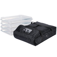 ServIt Soft-Sided Sheet Pan Carrier, Black Nylon with 4 Half Size Bun Pans and Bun Pan Covers, 28 inch x 20 inch x 6 inch