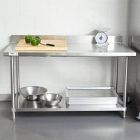 Regency Spec Line 30 inch x 60 inch 14 Gauge Stainless Steel Commercial Work Table with 4 inch Backsplash and Undershelf