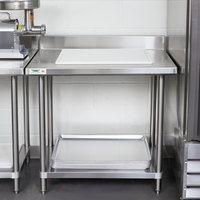 Regency Spec Line 24 inch x 36 inch 14 Gauge Stainless Steel Commercial Work Table with 4 inch Backsplash and Undershelf