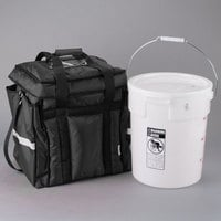 ServIt Heavy-Duty Insulated Food Delivery Bag with Cambro 22 Qt. Container & Lid and Microcore 40 oz. Hot / Cold Pack