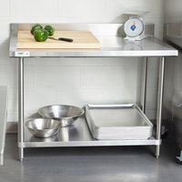 Regency Spec Line 30 inch x 48 inch 14 Gauge Stainless Steel Commercial Work Table with 4 inch Backsplash and Undershelf